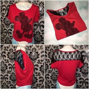 Red & Black Lace Disney Mickey Mouse Top Size S